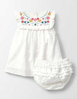 Ivory/Multi Flowers Embroidered Ruffle Dress
