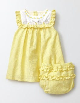 Pineapple Stripe/Bunnies Embroidered Ruffle Dress