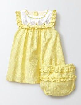 Pineapple Stripe/Bunnies Embroidered Ruffle Dress