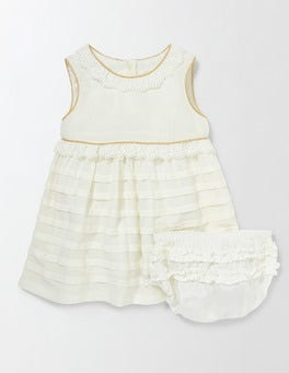 Mini Ecru Sweet Pintuck Dress