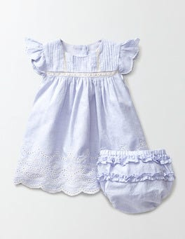 Blue Chambray Broderie Summer Dress