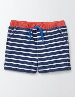 Dusky Blue/Ivory Stripe Jersey Shorts
