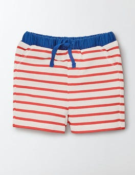 Ivory/Red Crayon Stripe Jersey Shorts