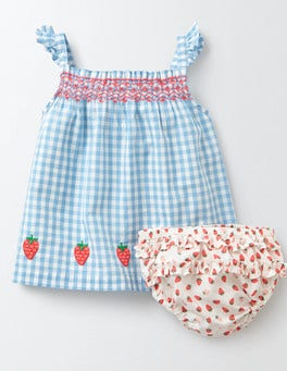 Light Sky Gingham Summer Smocked Dress