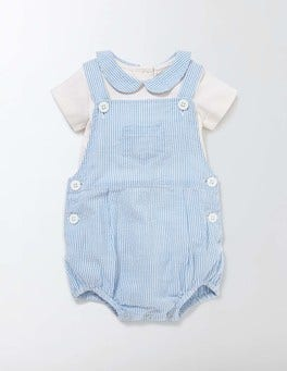 Bright Bluebell Stripe Ticking Romper Set