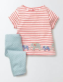 Ivory/Coral Crush/Elephants Summer Jersey Play Set