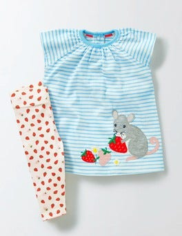 Ivory/Light Sky Blue/Mouse Stripy Dress & Legging Set