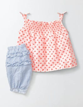 Coral Crush Baby Etched Berry Summer Smocked Play Set