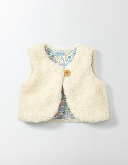 Mini Ecru Fleecy Vest