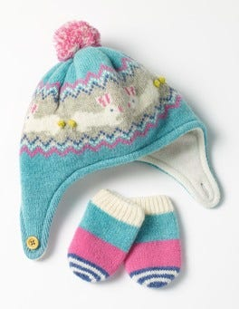 Duck Egg Blue Bunny Lambswool Hat & Mittens Set