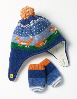 Denim Blue Fox Lambswool Hat & Mittens Set