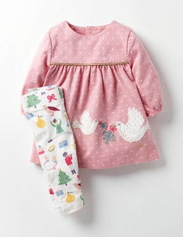 Milkshake Pink Pin Spot Appliqué Dress & Leggings Set