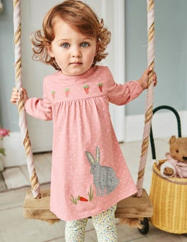 Appliqué Dress & Leggings Set