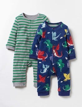 Starboard Blue Baby Dragons Twin Pack Fun Romper