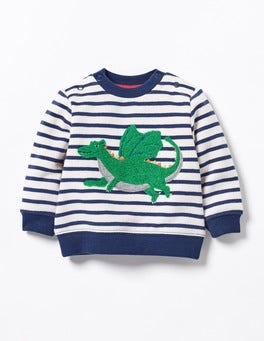 Ecru/Beacon Blue Dragon Cosy Sweatshirt