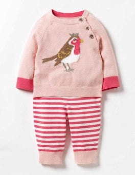 Milkshake Pink Robin Animal Knitted Play Set