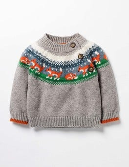 Grey Marl Fox Fair Isle Sweater