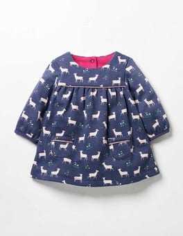 Naval Blue Baby Fawn Cosy Jersey Deer Dress