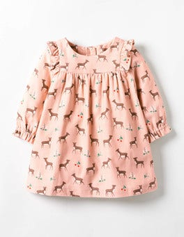 Provence Dusty Pink Baby Fawn Patterned Ruffle Dress