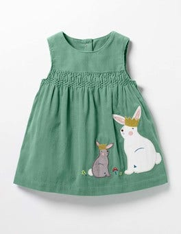 Csarite Green Bunnies Fairytale Appliqué Dress