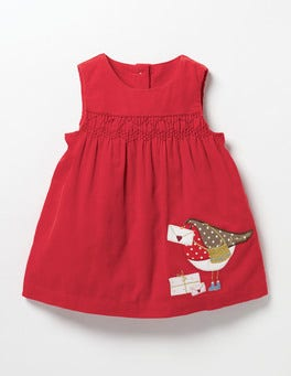 Red Robin Postie Robin Fairytale Appliqué Dress