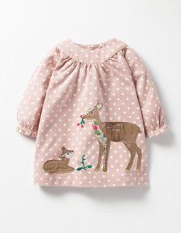 Vintage Pink Spot Deer Winter Animals Appliqué Dress