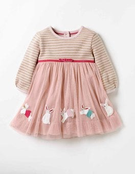 Milkshake Pink Bunnies Pretty Tulle Appliqué Dress