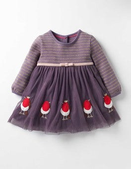 Misty Purple Robins Pretty Tulle Appliqué Dress