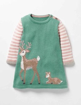 Csarite Green Deer Forest Friends Knitted Dress