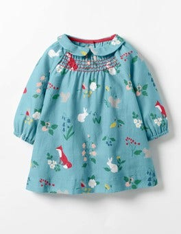Frost Blue Woodland Printed Smock Dress