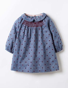 Chambray/Ladybird Red Spot Printed Smock Dress