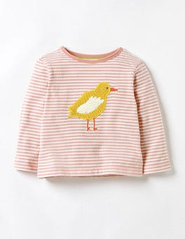 Almond Blossom Pink/Ecru Duck Crochet Animal T-shirt