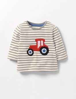 Grey Marl/Ecru Tractor Fun Crochet T-shirt