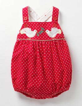 Red Robin Pin Spot Classic Cord Playsuit