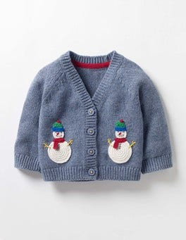 Denim Blue Marl Snowmen Crochet Friends Cardigan