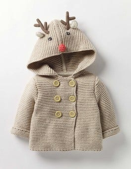 Oatmeal Marl Reindeer Wild Animal Knitted Jacket