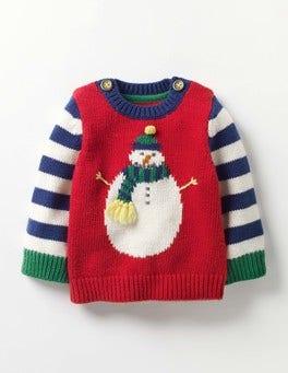 Beatnik Red Snowman Fun Knitted Sweater
