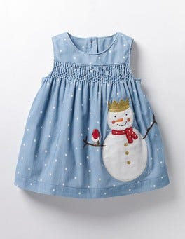 Wren Blue Snowman Fairytale Appliqué Dress