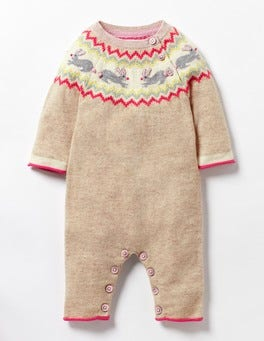 Oatmeal Marl Bunnies Hop Along Knitted Romper