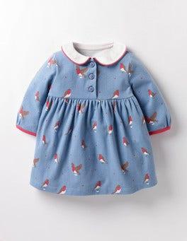 Wren Blue Postie Robins Robins Jersey Dress