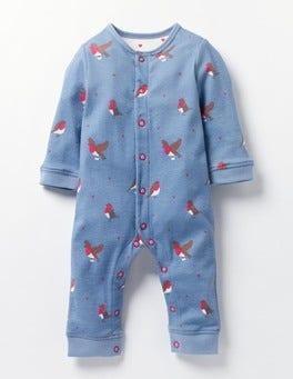 Wren Blue Postie Robins Festive Robins Jersey Playsuit