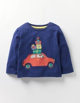 Beacon Blue Car Festive T-shirt