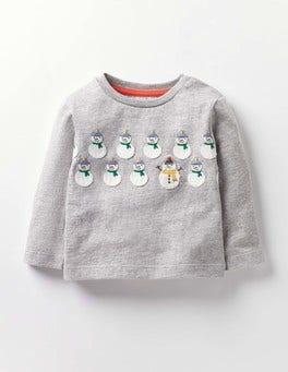 Grey Marl Snowmen Festive T-shirt