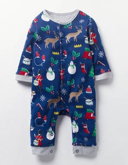 Beacon Blue Mini Festive Fun Festive Jersey Romper