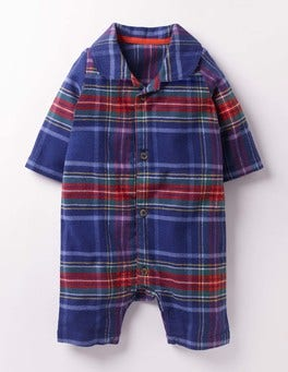Starboard Blue & Rosehip Red Festive Flannel All-in-one