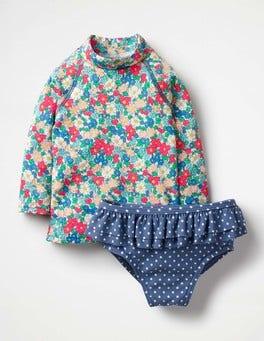 Oasis Blue Vintage Floral Rash Vest & Pant Set