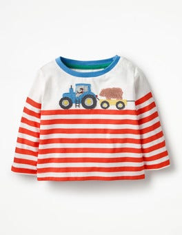 Ecru/Crayon Red Tractor Farm Appliqué T-shirt