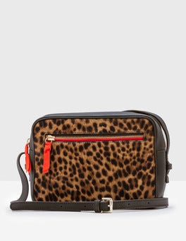 Tan Leopard Lyon Camera Crossbody Bag