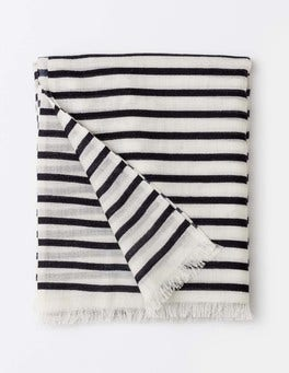 Navy and Ivory Stripe Printed Merino Scarf