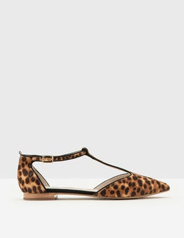 Tan Leopard Angelica T-Bar Flats